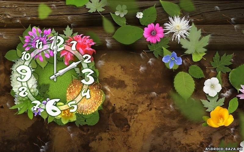 Приложение Flower Parade Clock Wallpaper — Живые Обои андроид