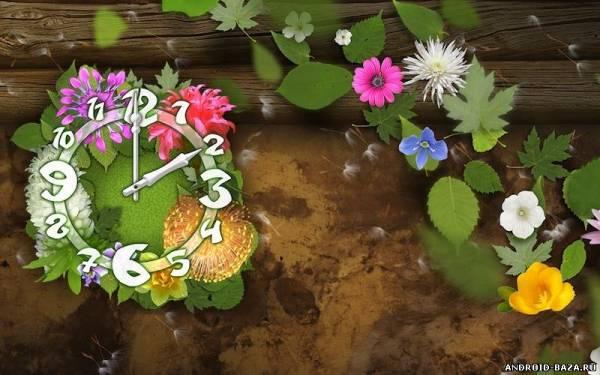 Картинка Flower Parade Clock Wallpaper — Живые Обои Андроид