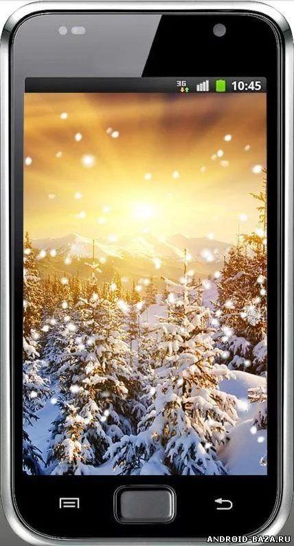 Скриншот Зима Снег Закат на планшет