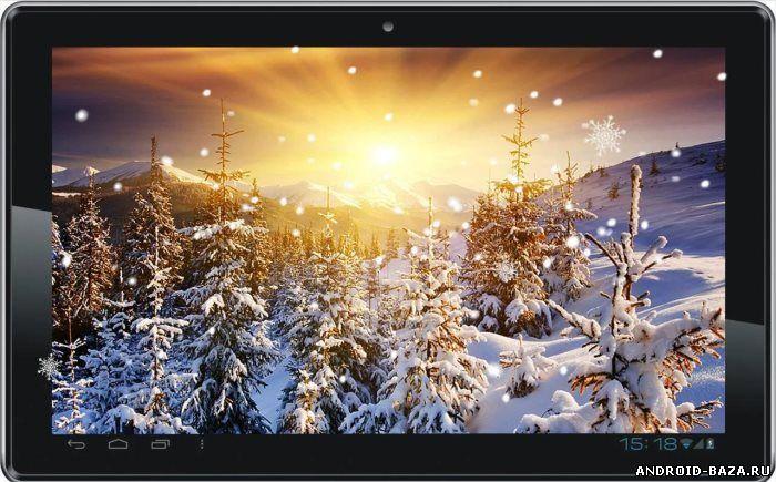 Картинка Зима Снег Закат на телефон