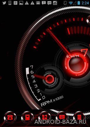 Изображение Red Drift - тема со спидометром на телефон