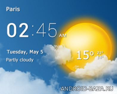 Картинка Виджеты андроид Прозрачные часы с погодой
