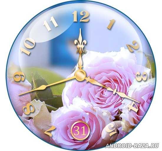 Картинка Живые обои андроид Часы с розами