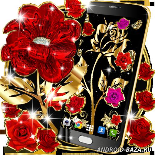 Картинка Живые обои андроид Золотые розы