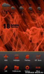 Тема Smoke and Fire Go Launcher EX на планшет