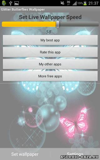 Скриншот Glitter Butterflies Wallpaper - Бабочки на планшет