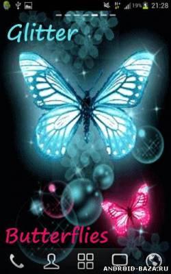 Картинка Glitter Butterflies Wallpaper - Бабочки Андроид