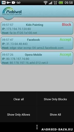 Картинка Mobiwol: Firewall без root на телефон